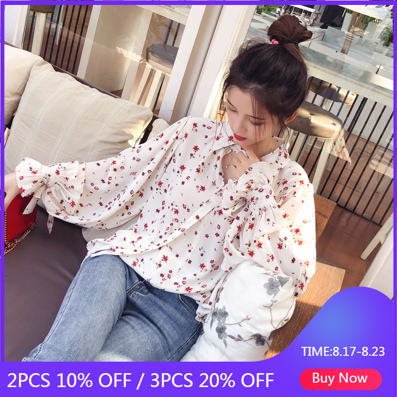 Mishow 2019 Femmes Mode Décontracté Top En Mousseline Florale À Manches Longues Chemisier Dames Coréenne Chemisiers MX17D4547
