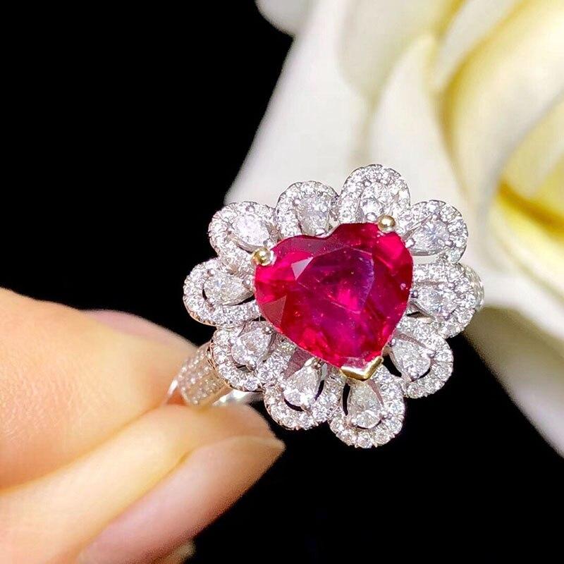 Le laboratoire d'anneau en or 10K a créé la bague de diamant de rubis et de Moissanite de 2ct avec le certificat national Ru-003 - 3