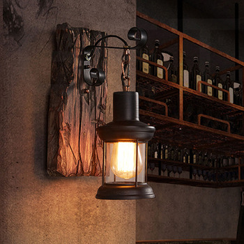 Wandlamp Indoor Home Decor Industriële Led Wandl Gang Vintage Hotel Natuur Hout Licht 3