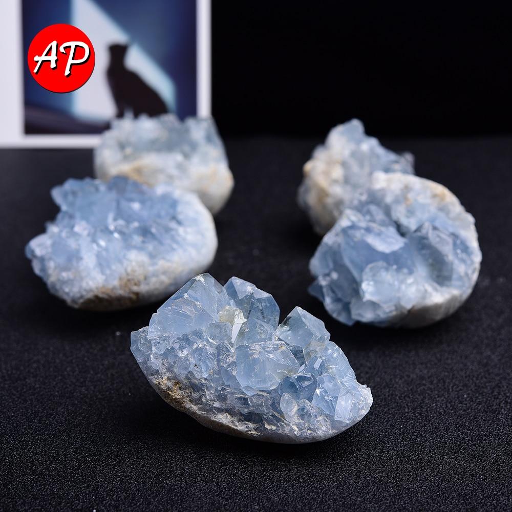 1 шт. мадагаскарский натуральный келестит минеральный лечебный Кристалл кластер Небесно-Голубой неправильный камень образец драгоценного ...