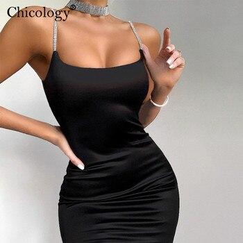 Diamond thin strap bodycon sexy mini dress party club sleeveless