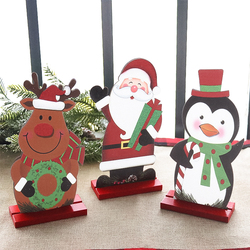 1PC santa/penguin/reindeer christmas table ornaments christmas wooden crafts gifts for christmas party decorations new year 2021