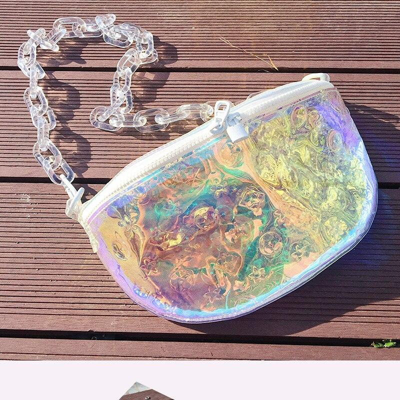 diagonal saco de cinto de corrente de acrílico transparente