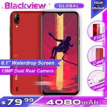 """Blackview A60 4080mAh 스마트 폰 안드로이드 8.1 쿼드 코어 1GB RAM 16GB ROM 6.1 """"19.2: 9 물방울 스크린 3G 휴대 전화"""