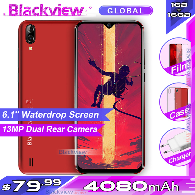 Blackview A60 4080mAh Smartphone Android 8.1 Quad Core 1GB RAM 16GB ROM 6.1 19.2:9 Waterdrop Screen 3G Mobile Phone