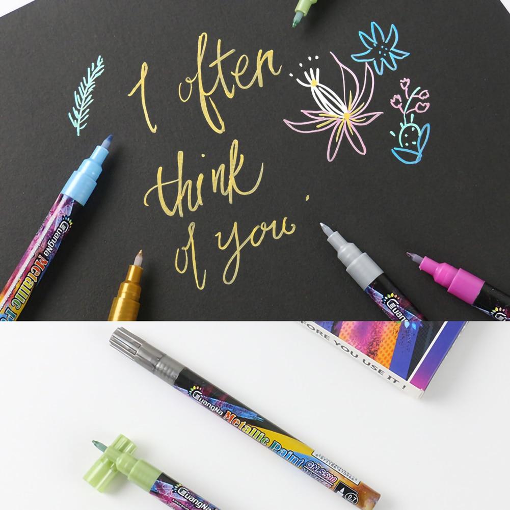 18 cores metálico marcador canetas 0.7mm extra