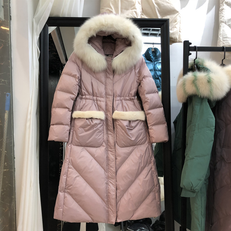 Winter Thick Warm Women's Down Jacket Female Mink Fur Hooded Clothes 2020 Korean Long Duck Down Coat Ladies Casaco MS99
