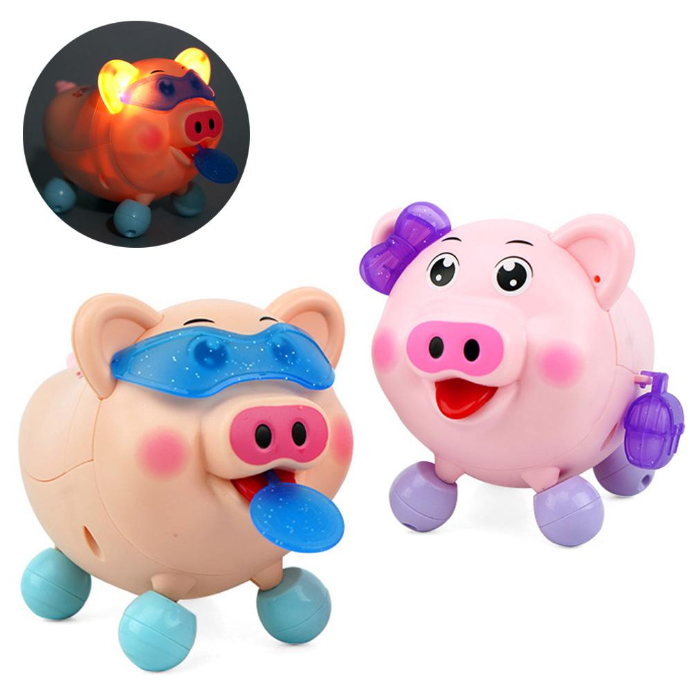 Cute Electric LED Music Dancing Pig Animal Robot With Leash Interactive Kids Toy