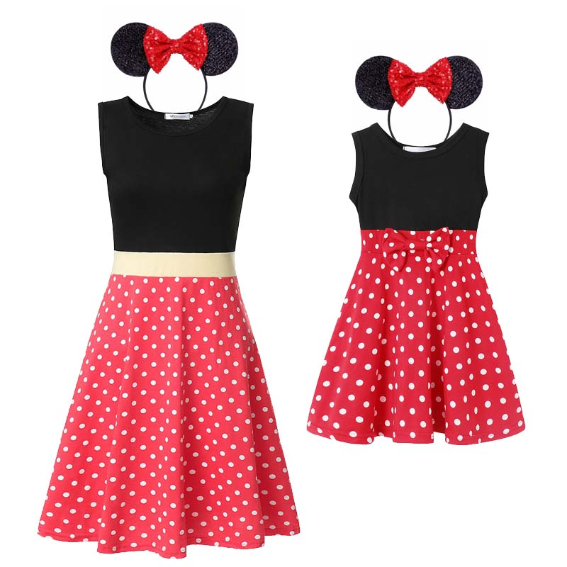 MUABABY Girl Minnie Dots Swing Princess Dress Mother And Daughter Casual Sundress Tunic Halloween Mickey Princess Party Clothes