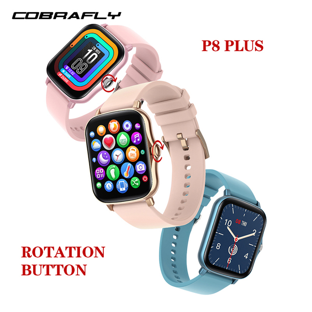 Cobrafly P8plus 2021 Smart Watch Men 1.69 inch Full Touch IP67 waterproof Women Smartwatch Fitness Tracker Clock For abdroid ios
