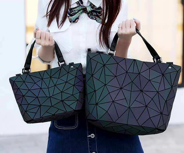 Maelove Luminous Bag 2019 Women's Geometric Diamond Tote Fashion Folding  Bag Luxury Handbags Women Bags Designer
