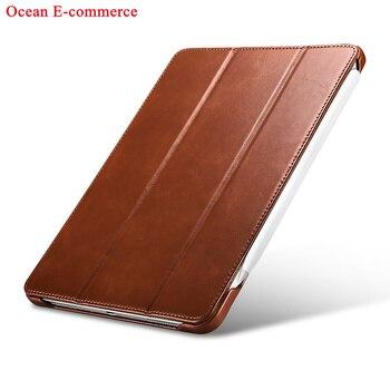 Original ICARER Luxury Genuine Leather Case For Apple iPad Pro 11 2020 Vintage Protective Magnet Smart Flip Case Stand Cover Bag