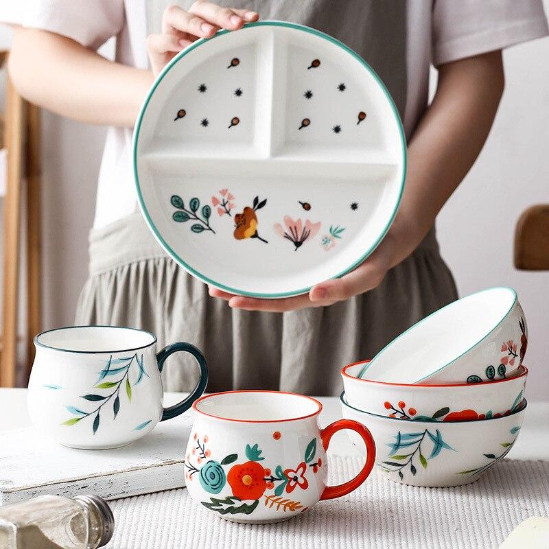 Набор керамической посуды, лоток с отсеком, детский диск для отправки еды, тарелка для завтрака, домашние обеденные тарелки, набор отдельных...