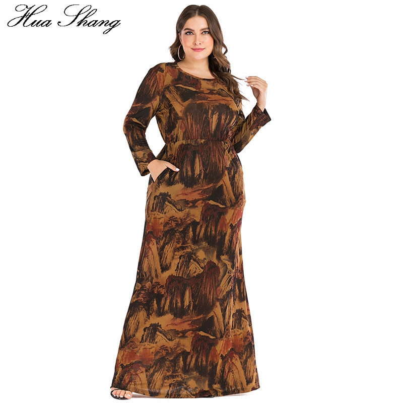 6XL Plus Size Abayas Muslim Dress Women Autumn Winter Long Sleeve Retro Print Vintage Maxi Long Dresses Dubai Islamic Clothing