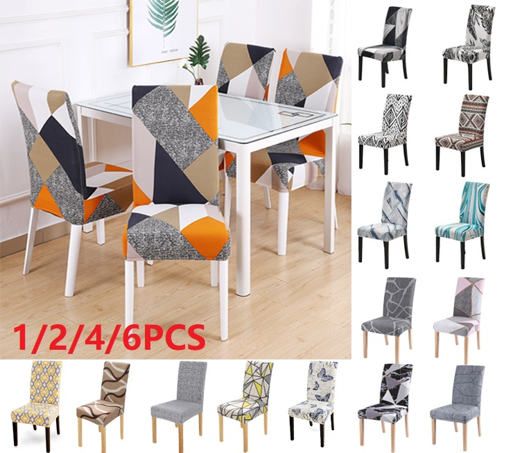 1//2//4//6Pcs Spandex Fabric Stretch Dining Room Chair Seat Covers Slipcovers US @