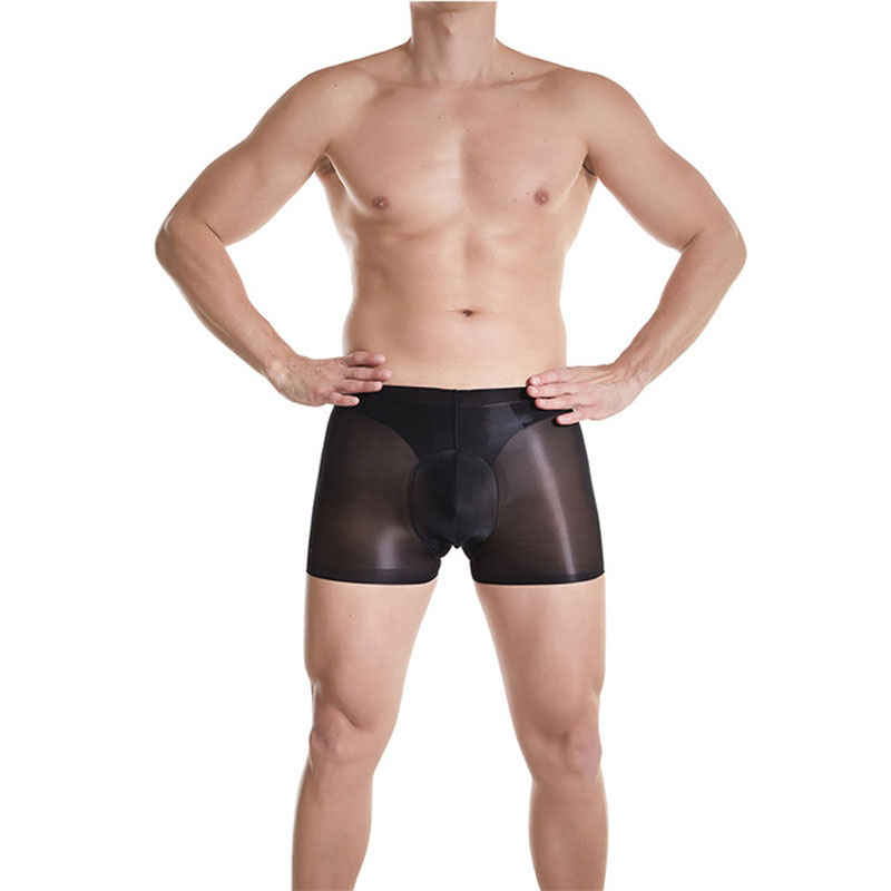 Sexy Men Safety Short Pants Seamless Boxers Oil Shiny Stockings Sheer See Through Shorts Underwear Erotic Lingerie Plus Size F18