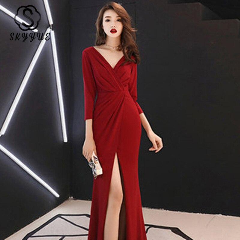 Skyyue Evening Dress Three-quarter Sleeve Robe De Soiree Sequin Evening Dresses For Women 2019 Sexy V-neck Formal Gowns F003