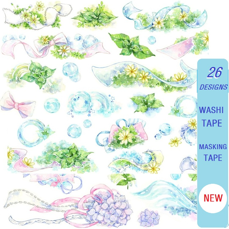 26 Designs Washi Tape Special Ink Planner Girls Japanese Decor Adhesive DIY Masking Paper Label Stickers Diary Scrapbooking Gift