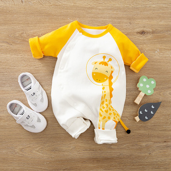 Newborn Baby Boy Girl Clothes Fall New born Onesie Romper Cotton Infant Giraffe Jumpsuit Costume Toddler Kids Pajamas Outfits image