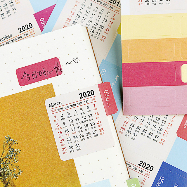 New 2020 Calendar Stickers Notebook Planner Decorative Sticker Mini Calendar Label Index Bookmark Kawaii Stationery 2 Pcs/pack 4