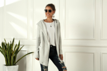 New cotton cardigan long-sleeved knit sweater female open knit casual women's 2019 winter loose hooded cardigan women casual grey open front grid knit cardigan