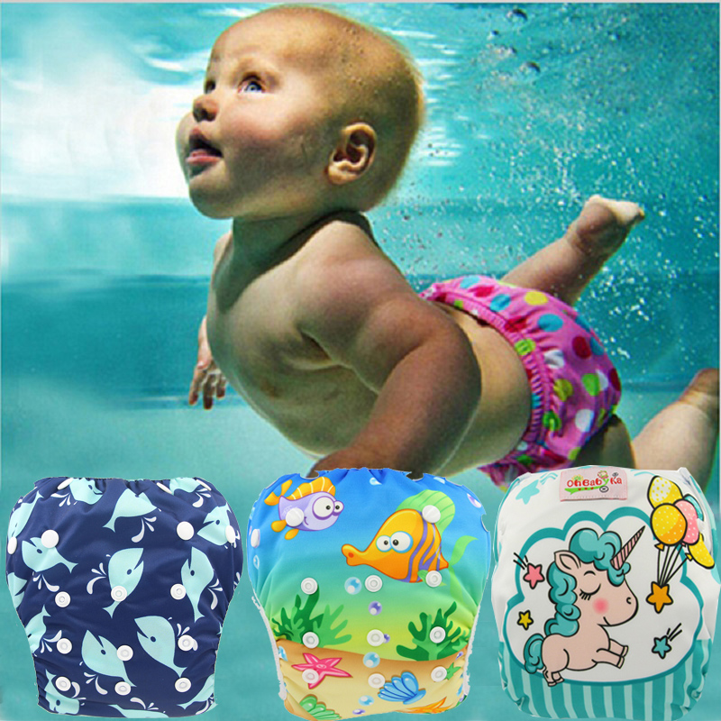 Ohbabyka Baby Swim Diapers 2020 Brand Cloth Diaper Swimwear Reusable Baby Swim Suit For Boys Or Girls Swimwear Swimming Trunks