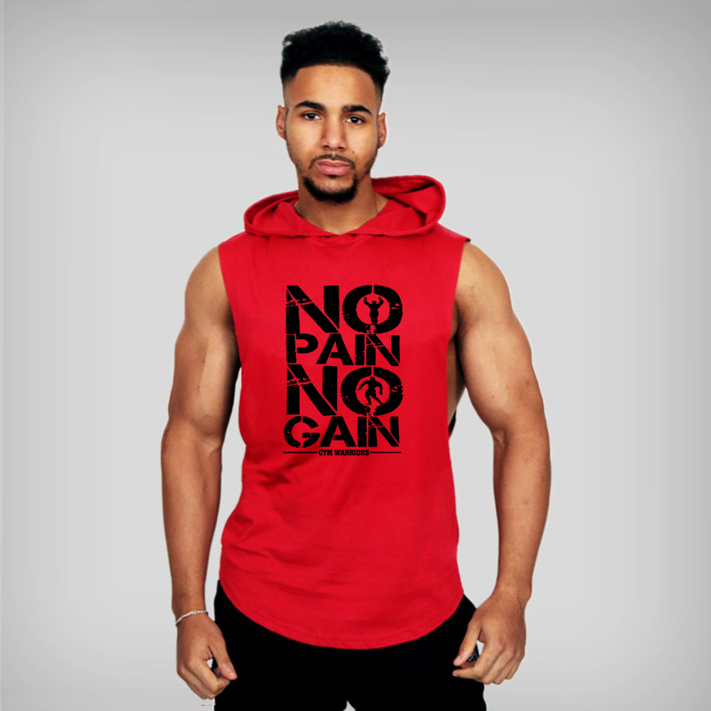 Brand Gyms Clothing Mens Bodybuilding Hooded Tank Top Cotton Sleeveless Vest Sweatshirt Fitness Workout Sportswear Tops Male 5