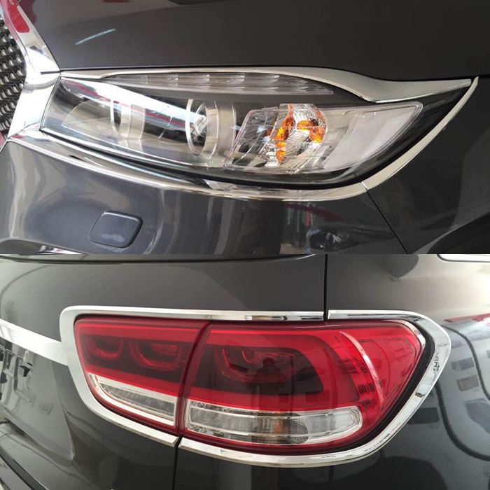 ABS Front Rear Tail  Lamp Cover Trim For  Kia Sorento 2015 2016 Chrome car styling accessories|trim cover|trim chrome|cover chrome - title=