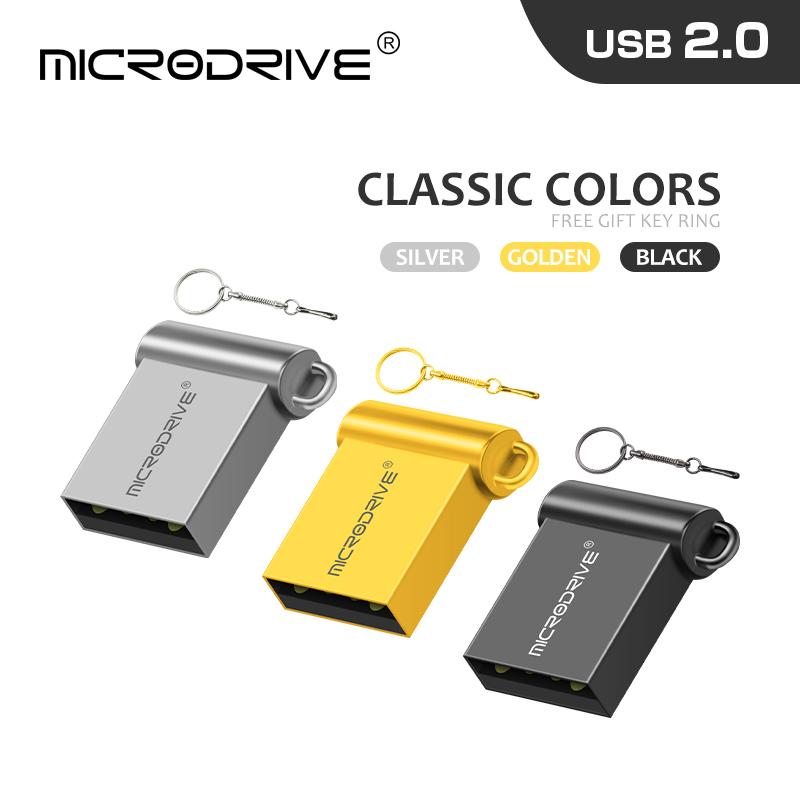 3 color mini tiny 32GB pendrive metal USB flash drive 16GB 32GB 64GB 128GB pen drive USB2.0 tiny memory stick U Disk cle usb(China)
