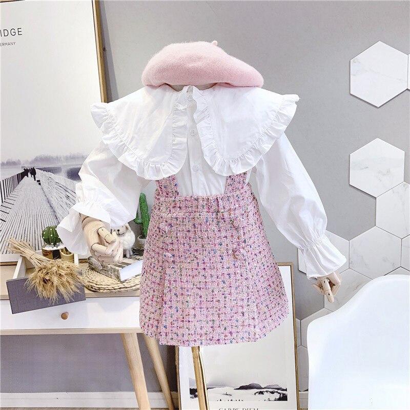 2021 spring Autumn New Arrival Girls Fashion 2 Pieces Suit Top+plaid Skirt Kids Clothes  Girl Set 1