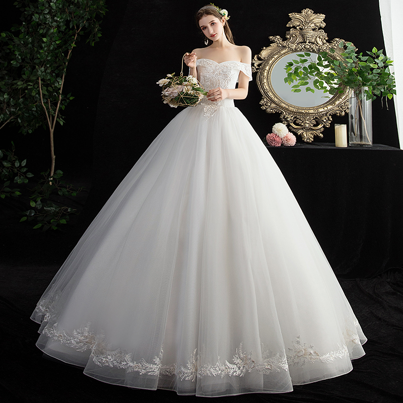 Mrs Win Wedding Dress Luxury Boat Neck Lace Up Ball Gown Off The Shoulder Lace Embroidery Wedding Dress Plus Size