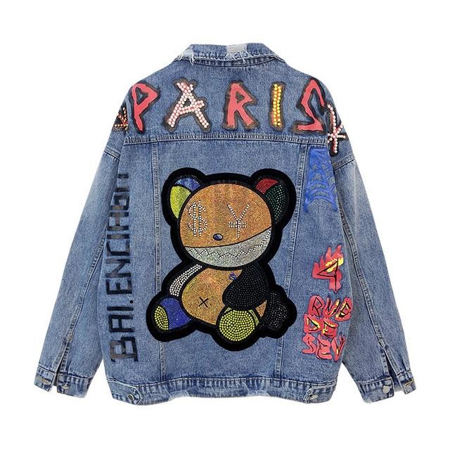 Jeans Jacket Women Streetwear Fashion Beading Cartoon Bear Denim Jacket Pocket Lapel Loose Long Sleeve Print Jeans Coat Female