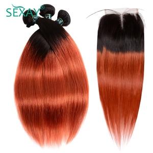 Image 2 - Sexay Ombre Bundels Met Sluiting Pre Gekleurde 1B 350 Gebrande Oranje Braziliaanse Steil Haar Weave Menselijk Haar 3 Bundels met Sluiting