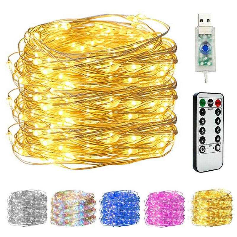>50/100/200 LED Copper Wire String <font><b>Lights</b></font> USB Plug-in Fairy <font><b>Lights</b></font> with Remote 8 Modes <font><b>Lights</b></font> Waterproof Remote Control Timer