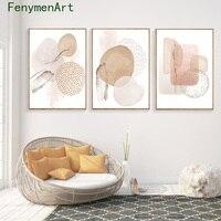 Pinturas de pared bohemias con diseño decorativo geométrico, carteles e impresiones en lienzo para decoración del hogar, sala de estar y dormitorio, color rosa Beige