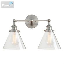 Permo современный 7,3 Воронка Стекло Лофт металлические двойные головки настенный светильник Ретро латунь страна Стиль E27 Edison бра