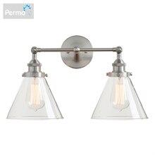 Permo Hiện Đại 7.3 Phễu Kính Đèn Chùm Kim Loại Đôi Đầu Đèn Retro Đồng Quốc Gia Phong Cách E27 Edison Sconce Đèn đèn