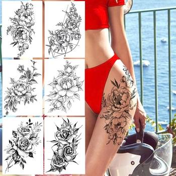 Realistic Sexy Peony Tattoos Temporary Women Adult Flower Arm Tattoos Sticker Waterproof Fake Floral Bloosom Body Leg Art Tatoos 1