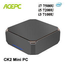 CK2 Intel Core PC Kecil I7 7500U I5 7200U I3 7100U Mini Desktop Windows10 Linux Gigabit Wifi COM HDMI VGA 6 * USB 4K Game Minipc(China)