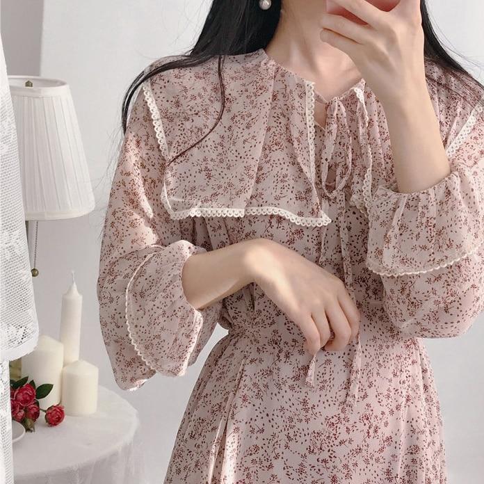 Hbe12327394b24bda89c341905e8febe8H - Autumn Puritan Collar Long Sleeves Chiffon Floral Print Lace-Up Slim Midi Dress