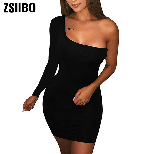 Autumn long sleeve One Shoulder Straps Slash Neck High Waist Sexy Women Solid Club Mini Dress 2