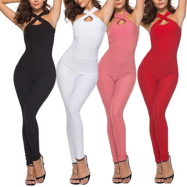 2021 Sexy mujer conjunto deportivo para Yoga siameses de cintura alta pantalón mono Fitness chándal vestido de gimnasio para mujeres, pantalones de ropa deportiva 6