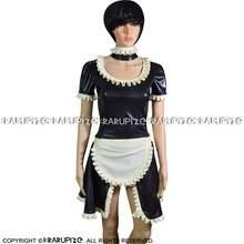 Сексуальное латексное платье французской горничной с прорезями
