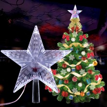 New LED Light Up Christmas Tree Topper Star Xmas Tree Ornaments Party Home Decorations christmas decorations for home led christmas candle christmas tree decorations led light xmas christmas tree ornaments pendants
