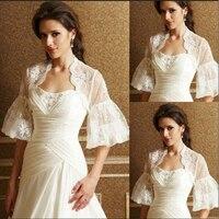 Lace Wedding Bolero Trumpet Sleeve White Ivory Bridal Top Jacket Shawl Shrug New Bride Coat