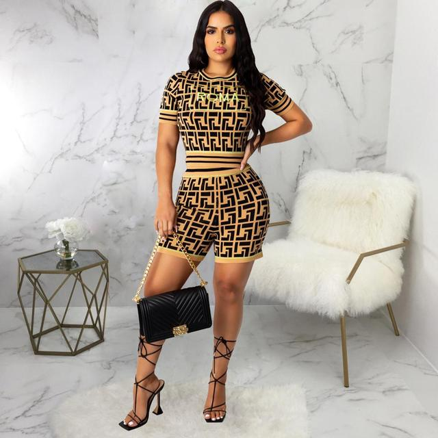 2020 women fashion new street style sets short sleeve round neck short top elastic short pants printed two piece sets 1