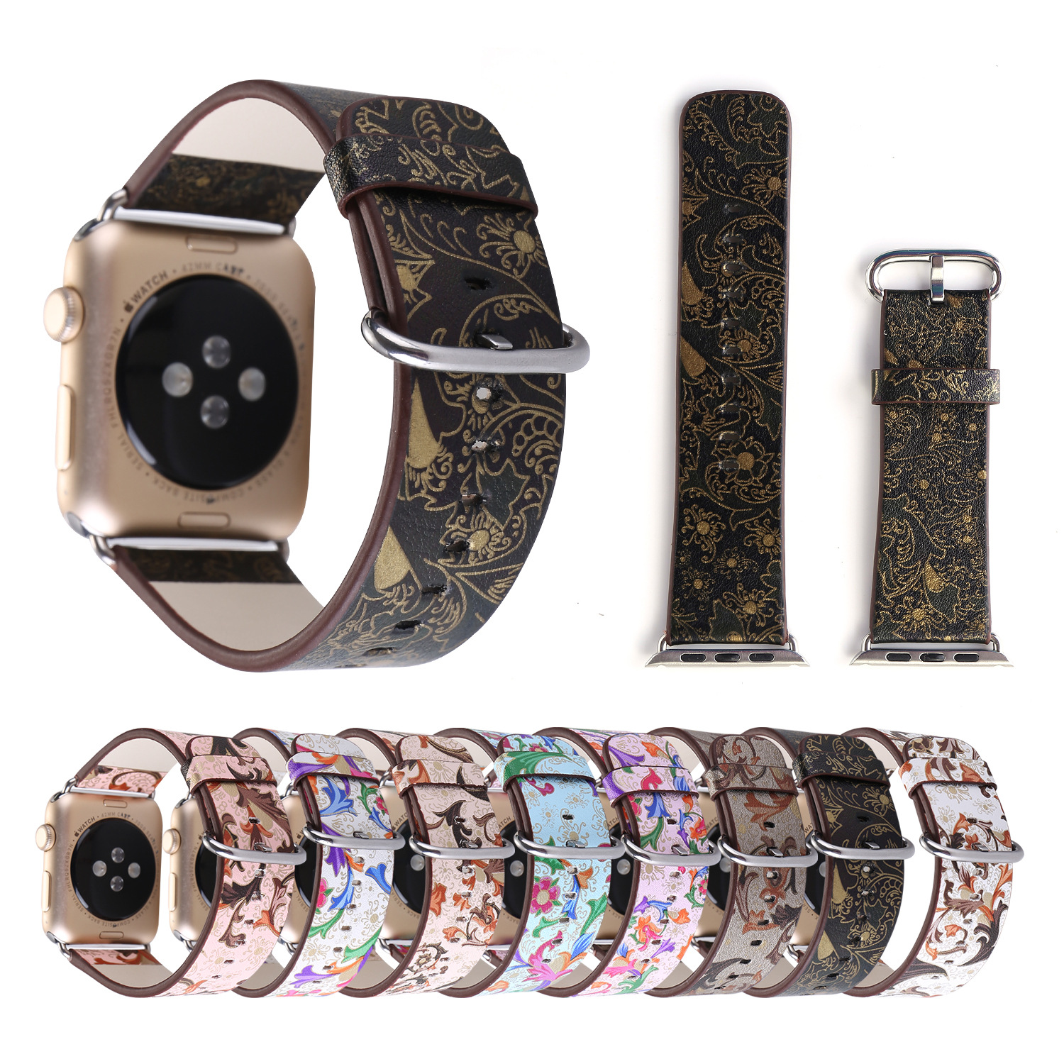 Apple Retro Watch Band Pteris Flower Genuine Leather Wrist Strap Applicable APPLE IWatch43 S Colour Printing Decorative Pattern