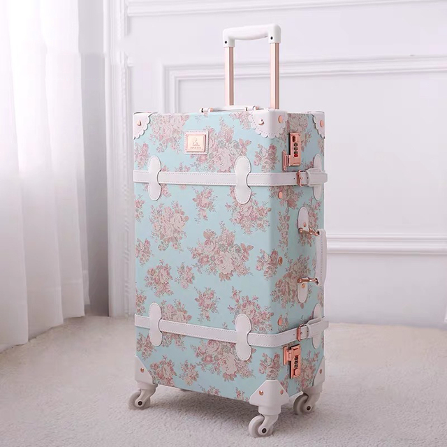 """TRAVEL TALE 20""""24""""26 inch women Retro spinner rolling luggage set trolley floral suitcase trolley bags 2"""