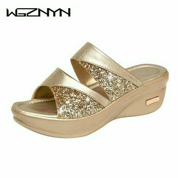 Spring Brand Bling Slipper Woman Shoes Ladies PU Leather Wedges Flat Shoes Female Casual Slingbacks Sandals Comfortable Platform 5