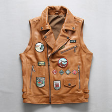 2020 Men's Soft Cow Leather Vest Vintage Rock Multi Labeling Motorcycle Genuine Leather Vests Sleeveless Jacket Large Size 4XL(China)